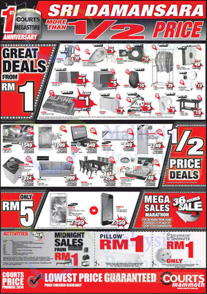 Featured image for Courts Mammoth, Subang USJ 1 & Sri Damansara Two Day Offers 31 May – 1 Jun 2014