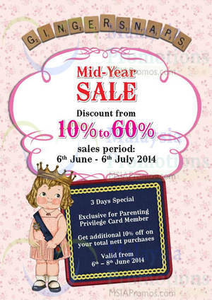 Featured image for Gingersnaps Up To 60% Off Mid Year Sale 6 Jun – 6 Jul 2014