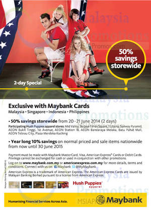 Featured image for Hush Puppies 50% OFF Storewide For Maybank Cardmembers 20 – 21 Jun 2014