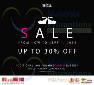 Featured image for Melissa SALE 30 Jun – 1 Sep 2014