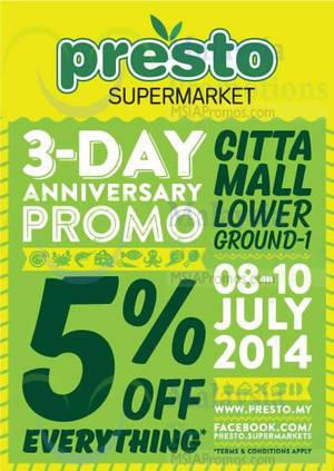 Featured image for Presto 5% OFF Storewide Promo @ Citta Mall 8 – 10 Jul 2014
