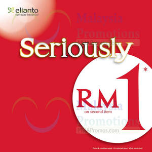 Featured image for Elianto RM1 Second Item Promo @ Nationwide 6 Jul 2014