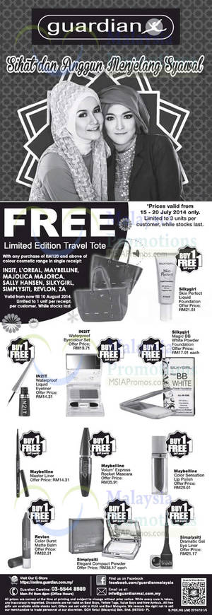 Featured image for Guardian Buy Colour Cosmetic Range & Get FREE Tote 15 Jul – 10 Aug 2014