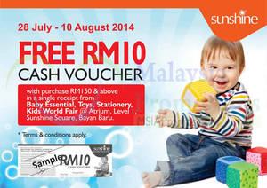 Featured image for Sunshine FREE RM10 Cash Voucher Promo 28 Jul – 10 Aug 2014