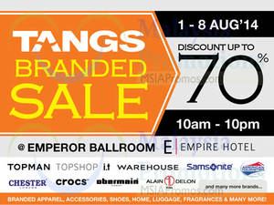 Featured image for Tangs Branded Sale @ Empire Hotel Subang 1 – 8 Aug 2014