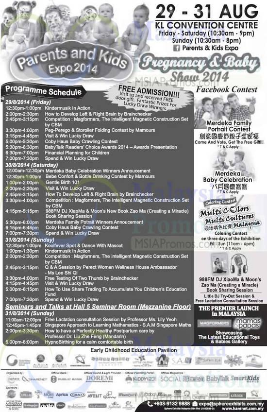 30 Aug Programme Schedule, Seminars, Talks