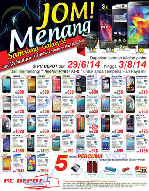Featured image for PC Depot Smartphones Offers 1 Aug 2014