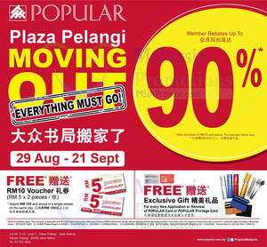 Featured image for Popular Moving Out SALE Up To 90% OFF @ Plaza Pelangi 29 Aug – 21 Sep 2014