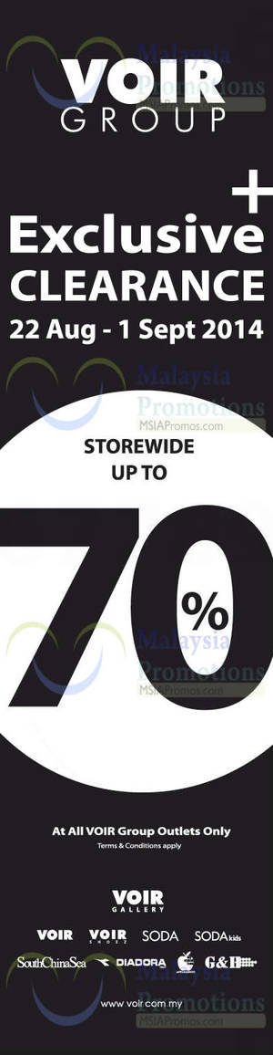 Featured image for Voir Group Exclusive Clearance 22 Aug – 1 Sep 2014