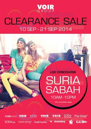 Featured image for Voir Clearance SALE @ Suria Sabah 10 – 21 Sep 2014