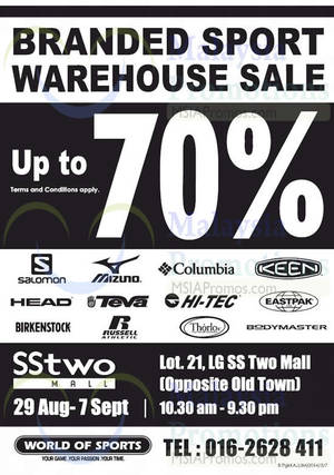 Featured image for World of Sports Branded Sport Warehouse Sale @ SSTwo Mall 29 Aug – 7 Sep 2014