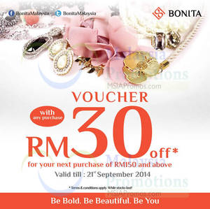 Featured image for Bonita FREE RM30 Voucher With Any Purchase 15 – 21 Sep 2014