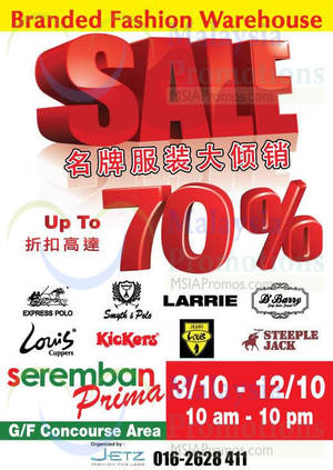 Featured image for Jetz Branded Fashion Warehouse @ Seremban Prima 3 – 12 Oct 2014