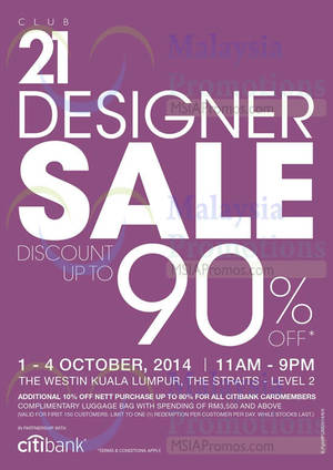 Featured image for Club 21 Up To 90% OFF Designer Sale 1 – 4 Oct 2014