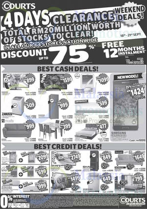 Featured image for Courts Mammoth 4 Days Clearance Sale Offers 18 – 21 Sep 2014
