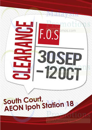 Featured image for F.O.S Clearance SALE @ AEON Ipoh Station 18 30 Sep – 12 Oct 2014