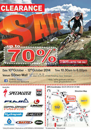 Featured image for GH Speed Bikes Clearance SALE @ SSTwo Mall 10 – 12 Oct 2014