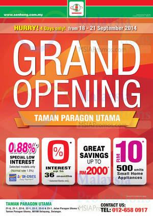 Featured image for Senheng Grand Opening Offers @ Taman Paragon Utama 18 – 21 Sep 2014