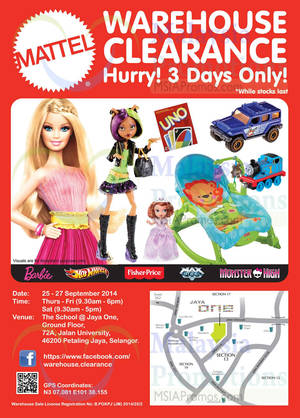 Featured image for Mattel Warehouse Clearance SALE 25 – 27 Sep 2014