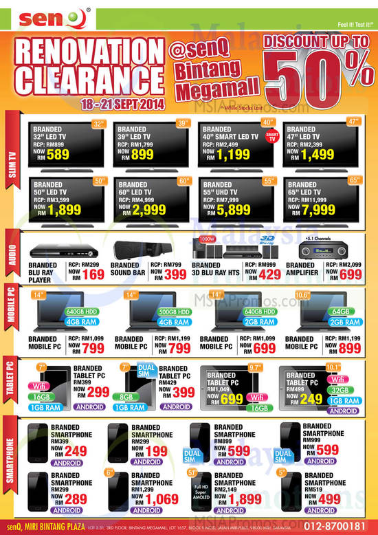 SenQ Bintang Megamall TVs, Blu-Ray Player, Sound Bar, Blu Ray Home Theatre System, Amplifier, Notebooks, Tablets, Smartphones