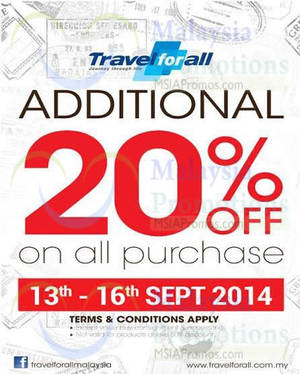 Featured image for Travel For All 20% OFF Storewide Promo 13 – 16 Sep 2014