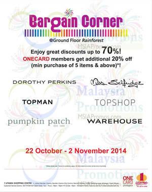 Featured image for 1 Utama Bargain Corner Promotion 22 Oct – 2 Nov 2014