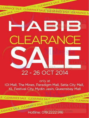 Featured image for Habib Clearance SALE @ Participating Outlets 22 – 26 Oct 2014