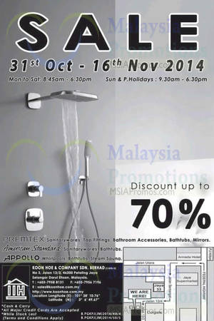 Featured image for Koon Hoe Bathroom Items SALE Up To 70% Off 31 Oct – 16 Nov 2014