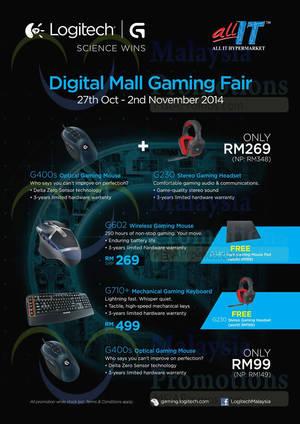 Featured image for Logitech Gaming Fair @ Digital Mall 27 Oct – 2 Nov 2014