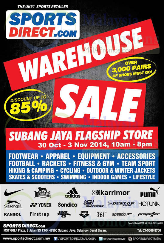 Sportsdirect warehouse sale subang jaya 30 oct 3 nov 2014 sale details products participating brands sciox Images