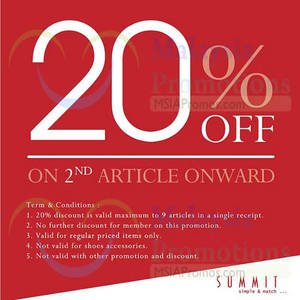 Featured image for Summit Shoes 20% OFF 2nd Item Promo 14 Oct – 14 Nov 2014