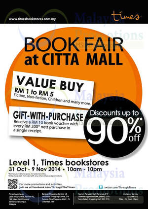 Featured image for Times Bookstores Up To 90% Off Sale @ Citta Mall 31 Oct – 9 Nov 2014