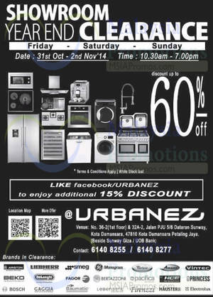 Featured image for Urbanez Up To 60% OFF Showroom Year-End Clearance SALE 31 Oct – 2 Nov 2014