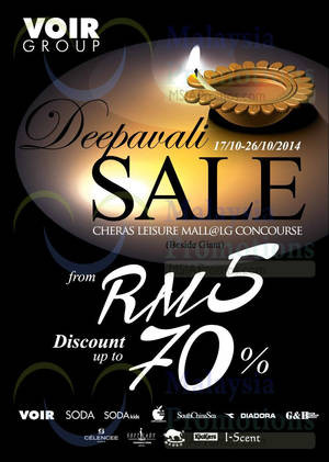 Featured image for Voir Group Deepavali Sale @ Cheras Leisure Mall 17 – 26 Oct 2014