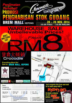 Featured image for Crocodile Warehouse Sale 20 – 29 Nov 2014