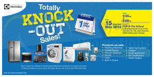 Featured image for Electrolux Warehouse Sale Totally Knock Out Sale 15 Nov 2014