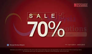 Featured image for Message SALE 15 Nov 2014 – 4 Jan 2015