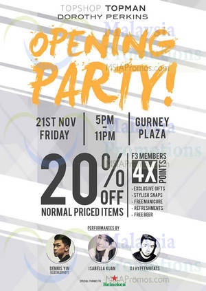 Featured image for Topman, Topshop & Dorothy Perkins Opening Specials @ Gurney Plaza 20 – 21 Nov 2014