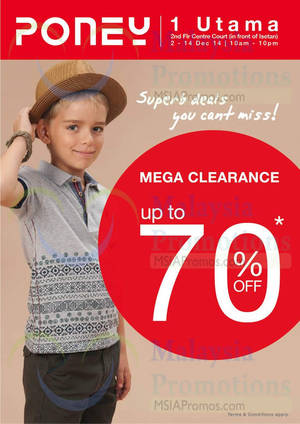 Featured image for Poney Mega Up to 70% Off Clearance Sale @ 1 Utama 2 – 14 Dec 2014