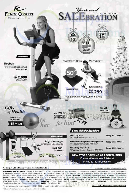Roadshows, Gift Packages, Upright Bikes, Tummy,Slimmer, Gym Set, Skippy Ball