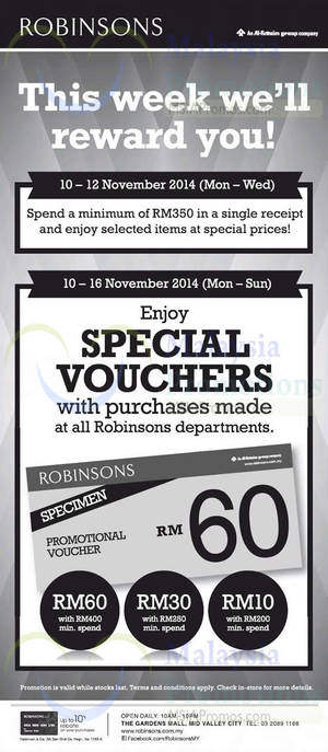 Featured image for Robinsons Spend RM200 & Get Free Voucher 10 – 16 Nov 2014