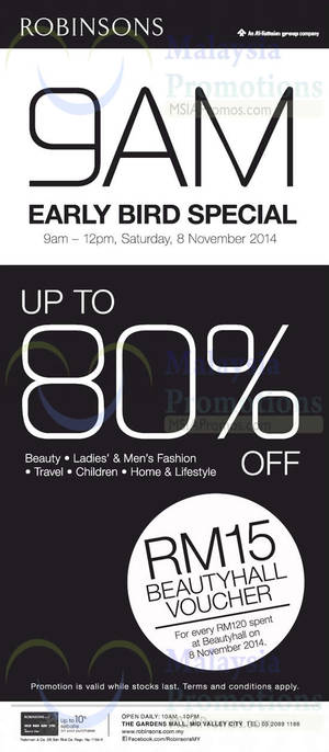 Featured image for Robinsons 9AM Early Bird Special 8 Nov 2014