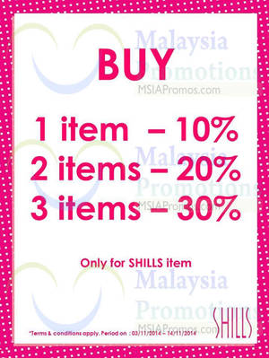 Featured image for Shills Up To 30% Off 3 – 14 Nov 2014