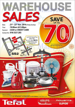 Featured image for Tefal Warehouse Sale 21 – 23 Nov 2014