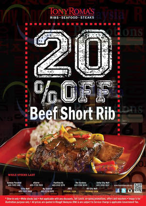 Featured image for Tony Roma's 20% Off Beef Short Rib 3 Nov 2014