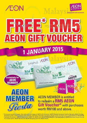Featured image for Aeon BiG Spend RM100 & Get FREE RM5 Voucher 1 Jan 2015