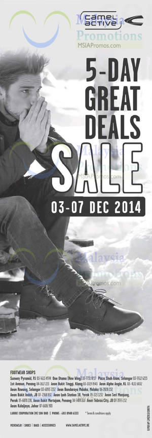 Camel Active Footwear 5 Days Great Deals Sale 3 – 7 Dec 2014