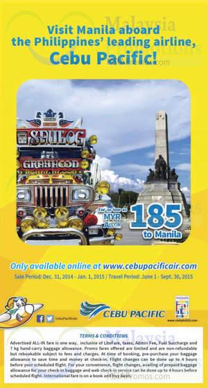 Featured image for Cebu Pacific Air RM185 Manila Promo Air Fares 31 Dec 2014 – 1 Jan 2015