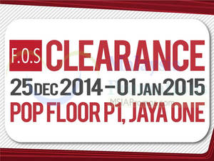 Featured image for F.O.S Clearance Sale @ Jaya One 25 Dec 2014 – 1 Jan 2015