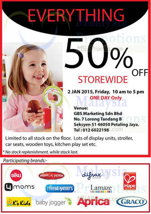 Featured image for GBS Marketing 50% Off Everything 1-Day Promo @ Petaling Jaya 2 Jan 2015